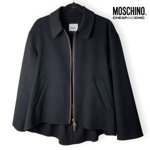 Moschino Cheap and Chic Black Wool High Low Jacket with Pockets & Bow